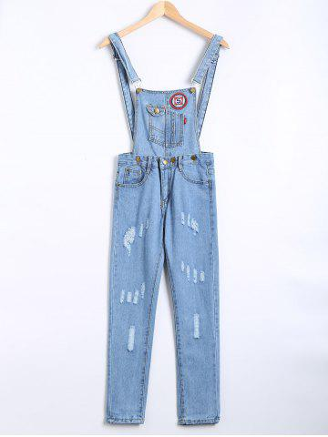 Best Ripped Applique Denim Overall Pants