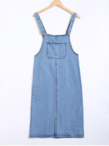 Outfit Pocket Design Topstitching Overall Dress