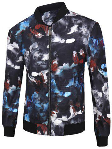 Fashion 3D Color Block Feathers Print Stand Collar Zip-Up Jacket