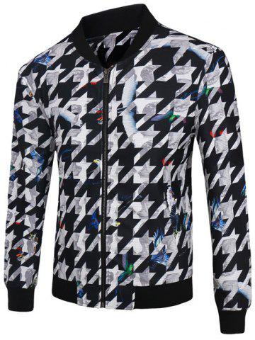 Buy 3D Abstract Houndstooth Print Stand Collar Zip-Up Jacket