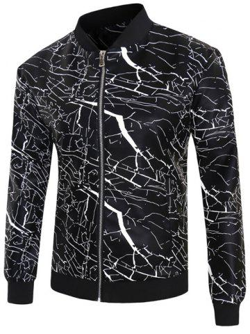 Chic 3D Crack Print PU-Leather Stand Collar Zip-Up Jacket