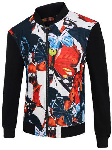 Latest 3D Color Block Butterfly Print Stand Collar Zip-Up Jacket