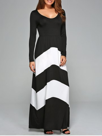 Outfits Zigzag Long Sleeve Prom Maxi Dress WHITE/BLACK S