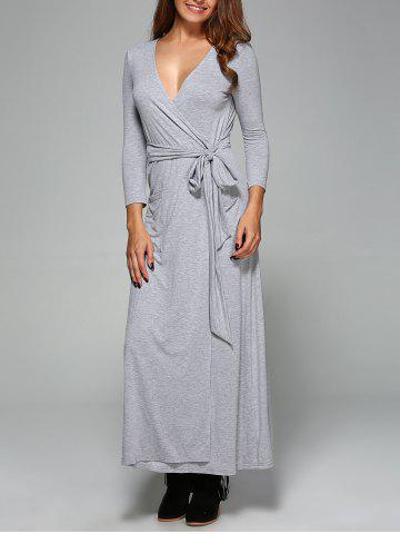 Sale Low Cut Tie Front Wrap Dress