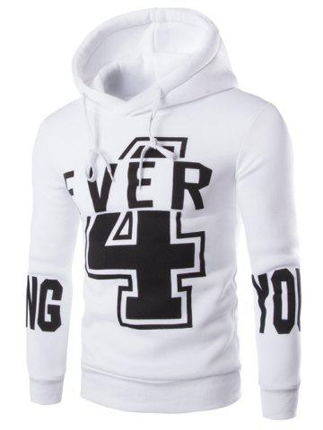 Unique Hooded Numer and Letter Print Long Sleeve Hoodie
