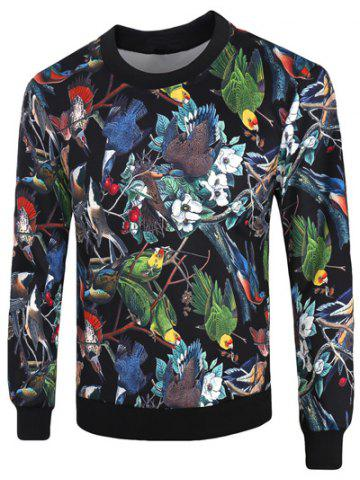 Outfits Crew Neck 3D Birds and Florals Print Long Sleeve Sweatshirt