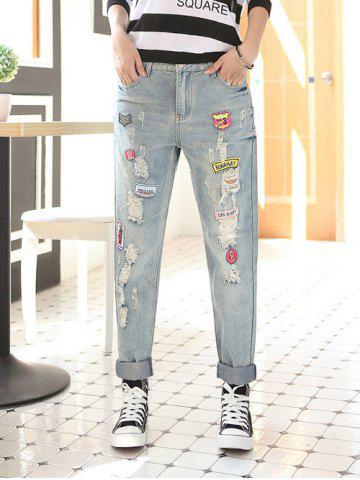 Latest Applique Frayed Denim Pants
