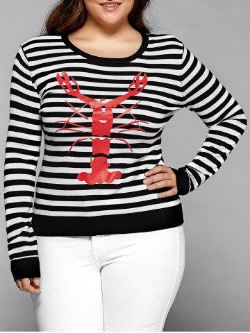 Store Striped Crayfish Pattern Plus Size Knitwear