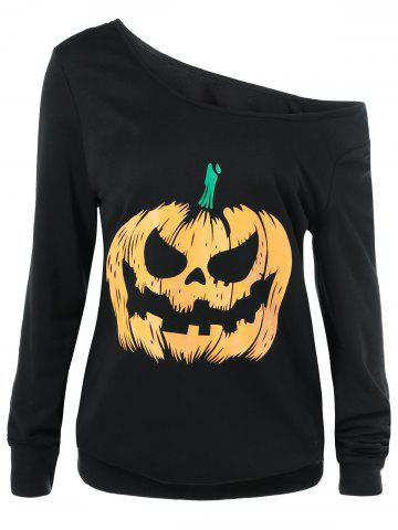 Affordable Skew Collar Pumpkin Lamp Print Sweatshirt YELLOW AND BLACK XL