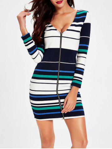 Shop Plunging Neck Zipper Design Striped Dress STRIPE 2XL