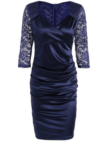 New Lace Insert Ruched Bodycon Dress