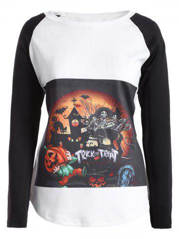 Trendy Raglan Sleeves Halloween Printed T-Shirt