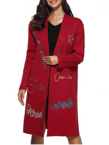 Outfit Rhinestone Letters Shift Overcoat