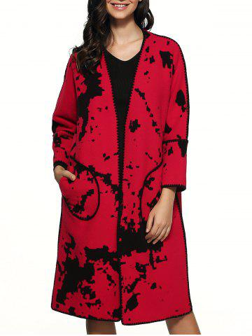 Latest Splash Ink Pattern Woolen Overcoat