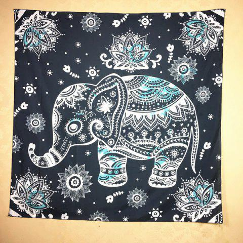 Unique Ethnic Indian Mandala Elephant Pattern Square Scarf BLACK GREY