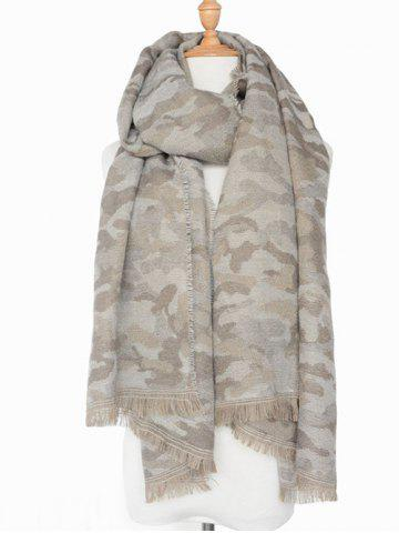 Winter Army Camouflage Pattern Fringed Shawl Scarf - LIGHT GRAY