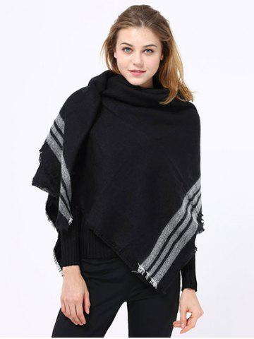 Shop Winter Stripe Pattern Fringed Shawl Wrap Pashmina BLACK