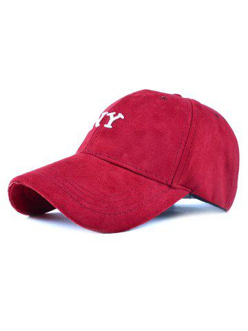 Latest Casual NY Embroidery Faux Suede Baseball Hat