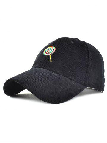 Store Warm Lollipop Embroidery Corduroy Baseball Hat