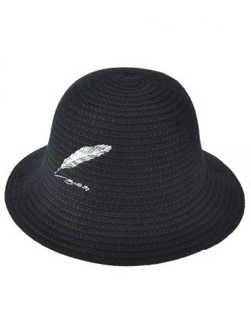 Cheap Winter Feather Embroidery Brimmed Knit Bucket Hat