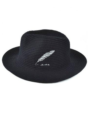 Fashion Winter Feather Embroidery Brimmed Knit Fedora