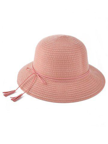 Winter Tassel Lace-Up Brimmed Knit Bucket Hat - Pink - One Size(fit Size Xs To M)