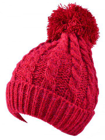 Affordable Winter Hemp Flowers Flanging Knit Hat RED