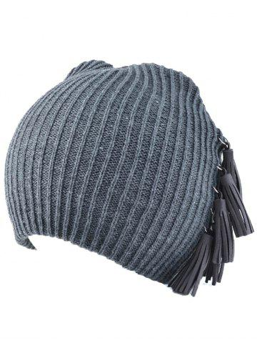 Fancy Winter Tassels Pendant Side Knit Hat - GRAY  Mobile
