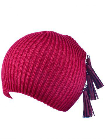 Winter Tassels Pendant Side Knit Hat - Wine Red - One Size(fit Size Xs To M)