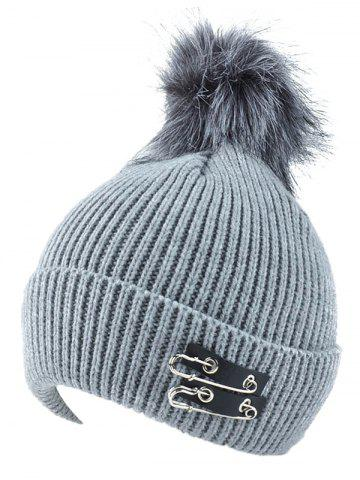 Hot Winter Safe Pin Fuzzy Ball Knit Hat