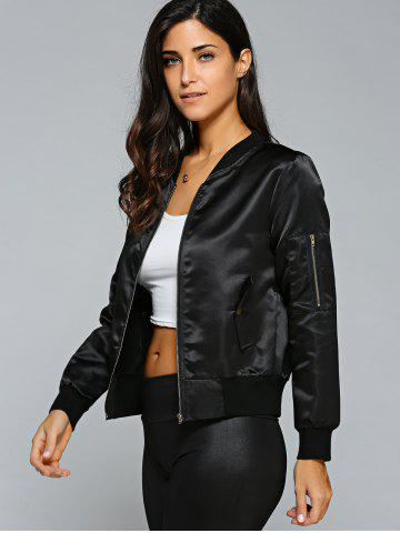 Outfits Satin Zip Up Bomber Jacket - XL BLACK Mobile