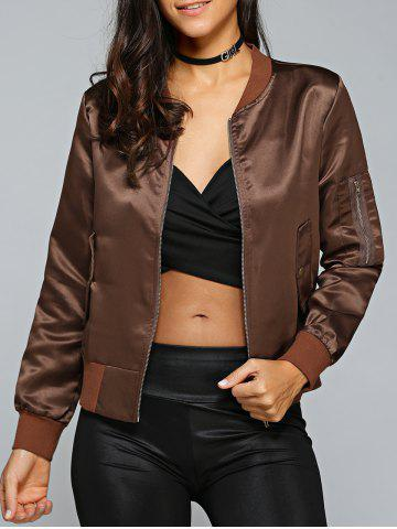 Online Satin Zip Up Bomber Jacket - M COFFEE Mobile