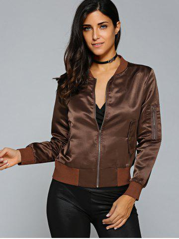 Outfits Satin Zip Up Bomber Jacket - S COFFEE Mobile
