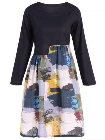 Affordable Spliced Print Swing Dress - L YELLOW Mobile