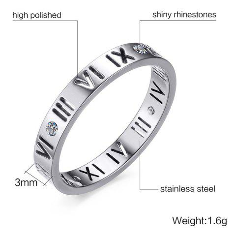Shops Engraved Roman Numerals Rhinestone Ring - 7 SILVER Mobile
