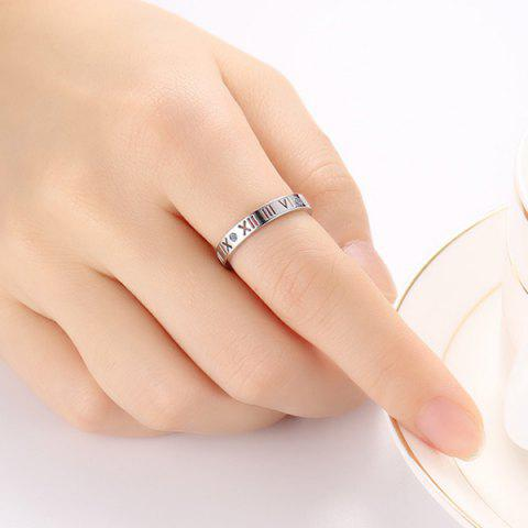 Trendy Engraved Roman Numerals Rhinestone Ring - 7 SILVER Mobile