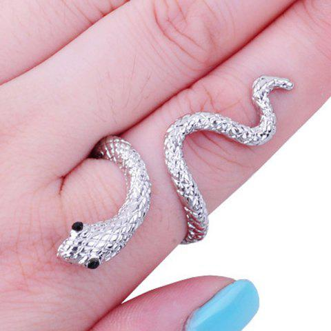 Unique Vintage Rhinestone Snake Ring - ONE-SIZE SILVER Mobile