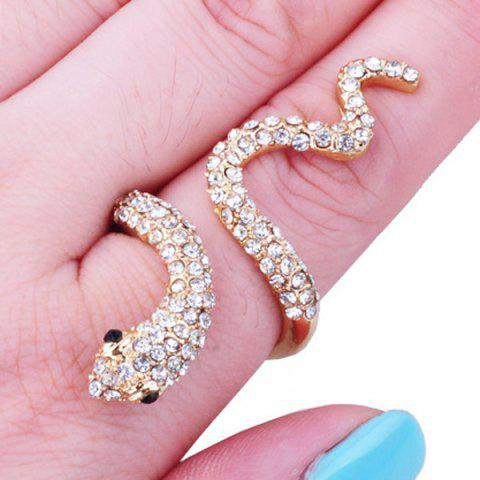 Sale Vintage Rhinestoned Snake Ring GOLDEN ONE-SIZE