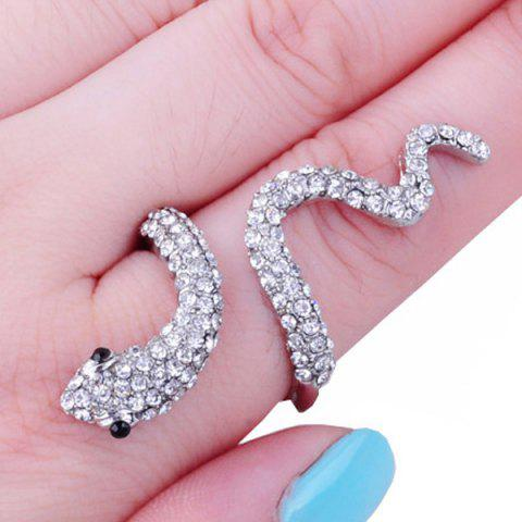 New Vintage Rhinestoned Snake Ring - ONE-SIZE SILVER Mobile