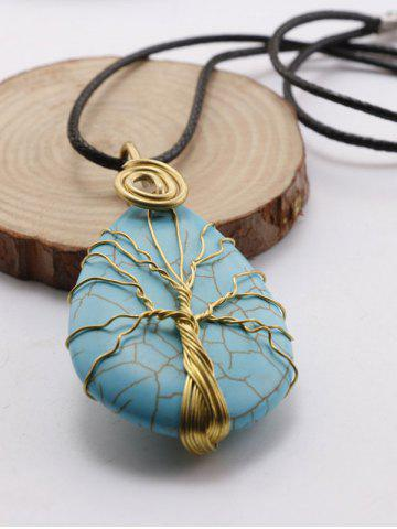 Affordable Faux Turquoise Life Tree Pendant Necklace - BLACK  Mobile