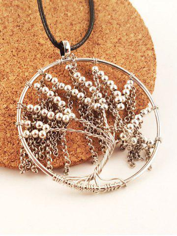 Latest Life Tree Beaded Faux Leather Necklace - SILVER  Mobile