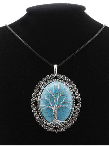Shops Faux Turquoise Life Tree Oval Necklace - SILVER  Mobile
