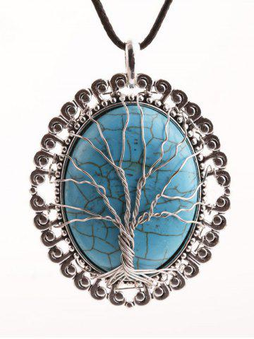 Fashion Faux Turquoise Life Tree Oval Necklace - SILVER  Mobile