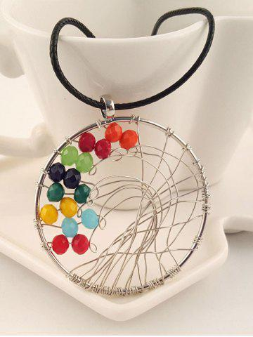 Shops Faux Leather Luck Beads Circle Necklace SILVER