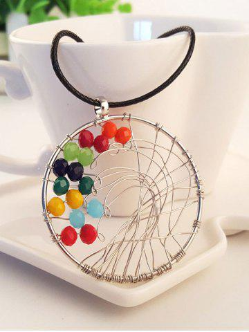 Online Faux Leather Luck Beads Circle Necklace - SILVER  Mobile