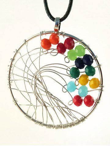 Sale Faux Leather Luck Beads Circle Necklace - SILVER  Mobile