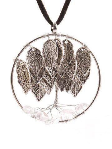 Online Natural Stone Life Tree Leaf Necklace SILVER