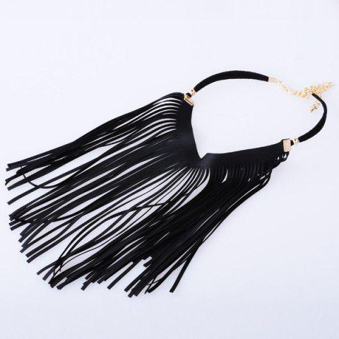 Outfit Faux Leather Tassel Statement Velvet Choker - BLACK  Mobile