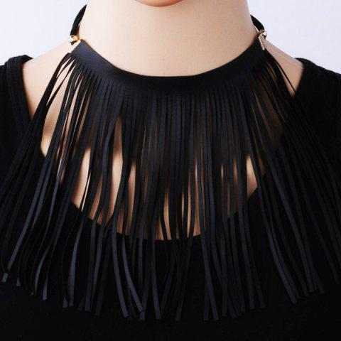 Fashion Faux Leather Tassel Statement Velvet Choker - BLACK  Mobile