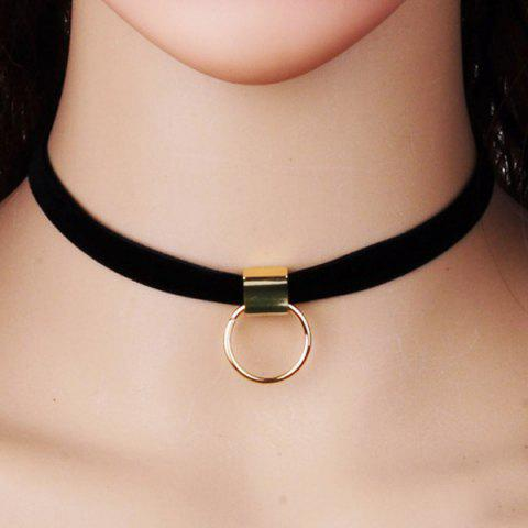 Fashion PU Leather Velvet Circle Pendant Choker - BLACK  Mobile